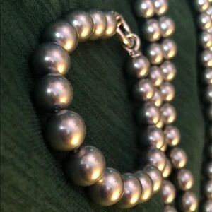 merii Jewelry - Sterling Silver Gray Glass Pearl Set